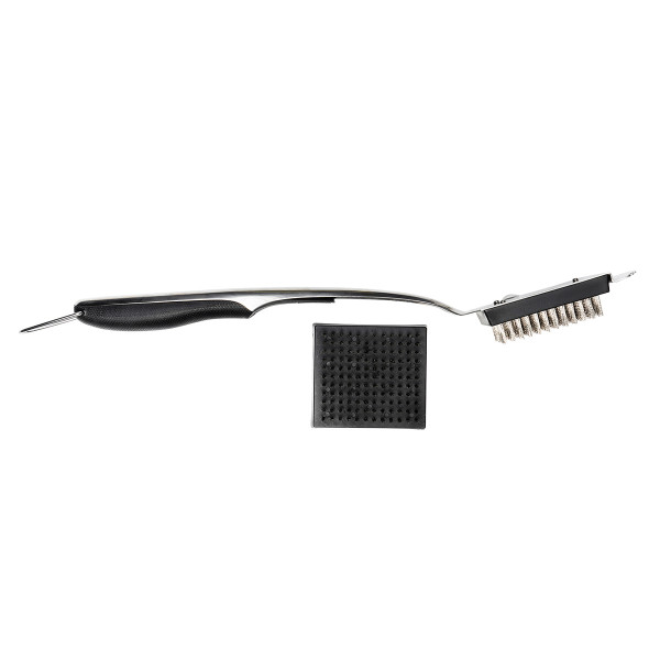 BBQ BRUSH DELUXE 46 CM + SPARE BRUSH STAINLESS STEEL_315a7