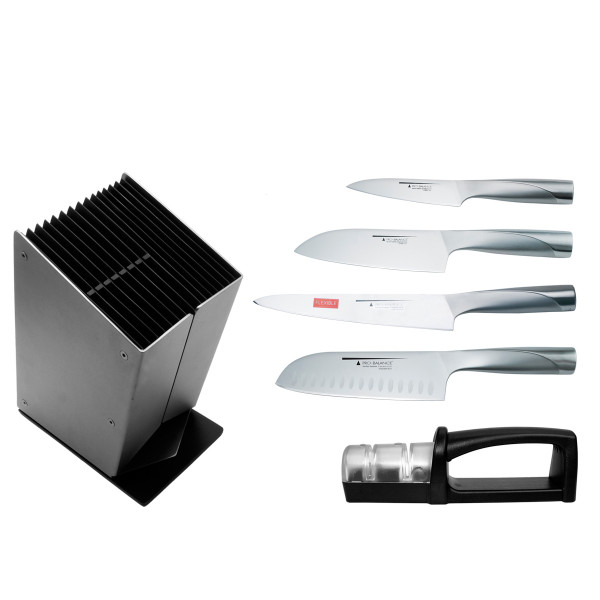 HENRI ALÉN PRO-BALANCE SET: 4 KNIVES, SHARPENER AND LOG_897e1