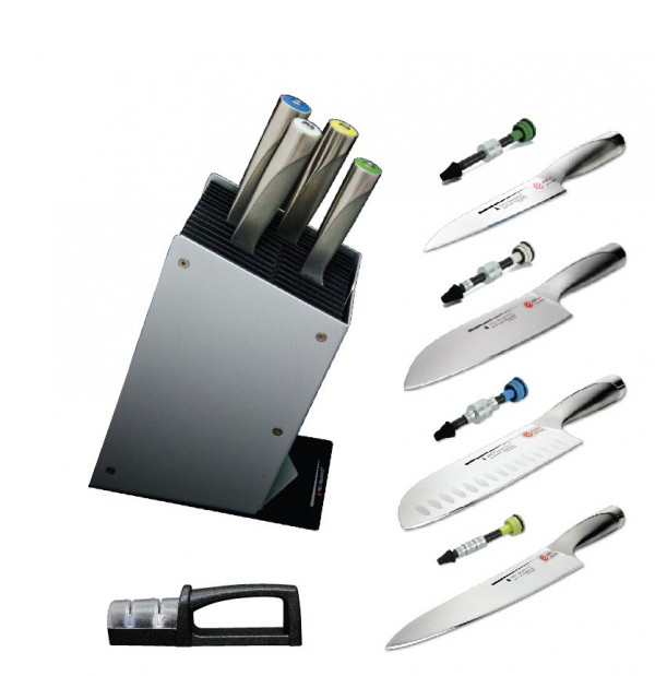 HENRI ALÉN PRO-BALANCE SET: 4 KNIVES, SHARPENER AND LOG_410dc
