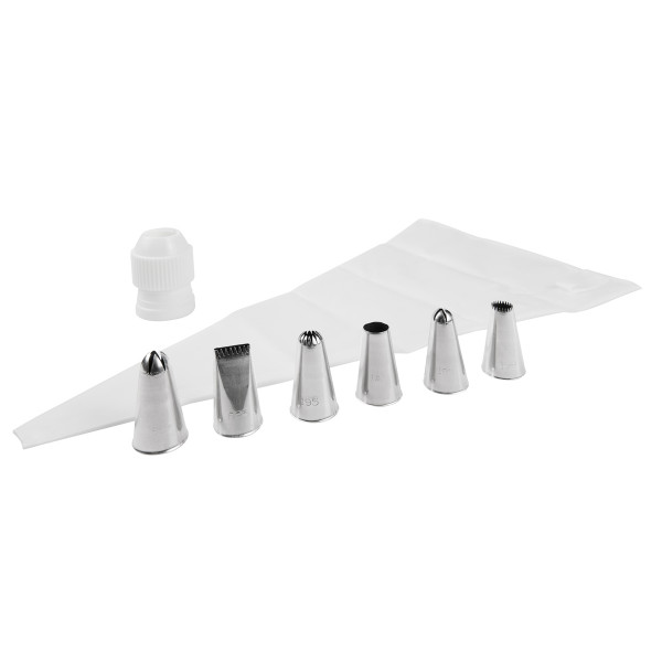 DECORATING SET (40 CM PIPING BAG, COUPLER, 6 NOZZLES STAINLESS STEEL)_ad3fa