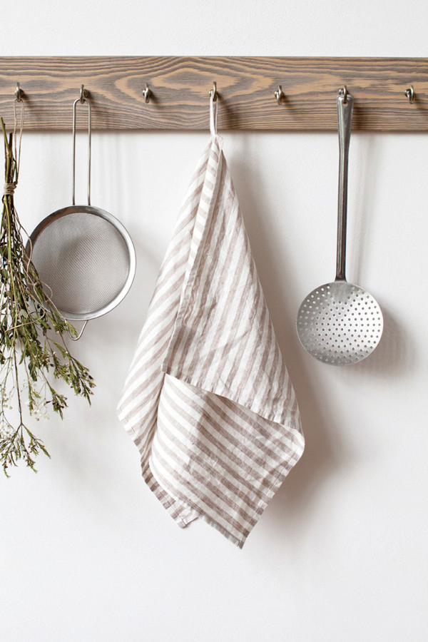 KITCHEN TOWEL, natural white stripe_58a7f