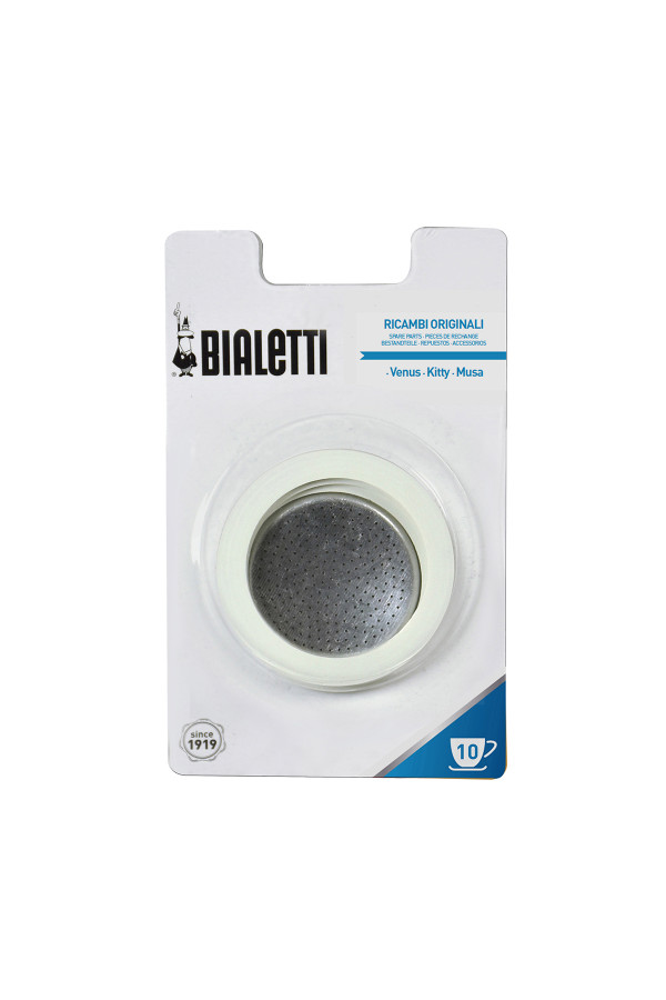 3 GASKETS + 1 FILTER / BIALETTI STEEL POT 10 CUPS_d60bc
