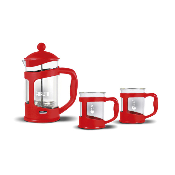 FRENCH PRESS 0,8 L + 2 MUGS RED_41863