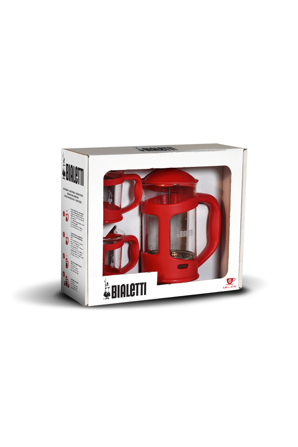 FRENCH PRESS 0,8 L + 2 MUGS RED_16a17