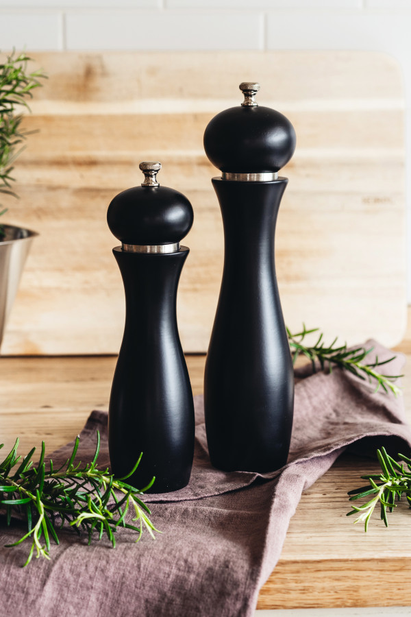 PEPPER MILL 22 CM PRO BLACK CARBON STEEL GRINDER RUBBER WOOD_ab518